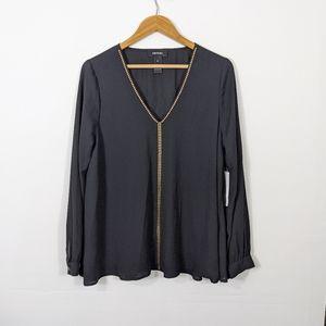 Karen Kane Black Studded Long Sleeve Top NWT